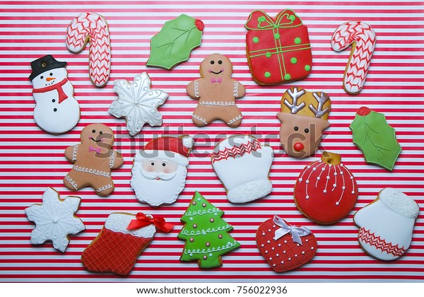 Christmas Cookies On Stripe Background Top Stock Photo Edit Now