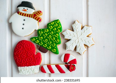 christmas cookies on white texture background