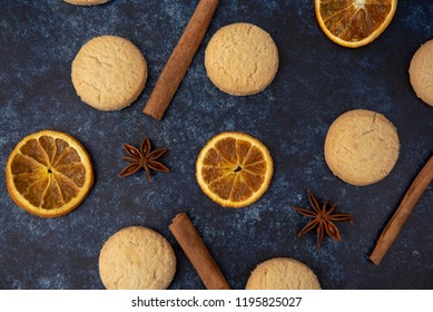 Christmas cookies with orange slices, cinnamon sticks and star anise
