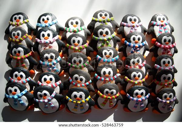 Christmas Cookies Shape Penguin Cute Penguins Stock Photo Edit Now