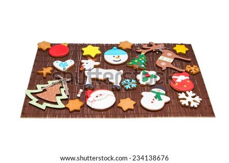 Christmas Cookies Tree Snowman Reindeer Gingerbread Stock Photo