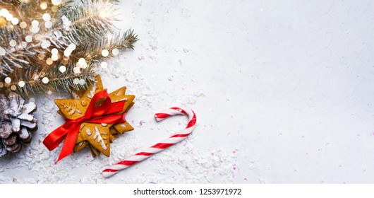 Christmas cookies and winter holidays abstract background