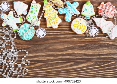 Christmas cookies wooden background