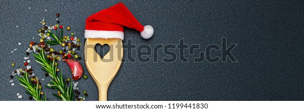 Christmas Cooking Background Kitchen Wooden Spoon Stock