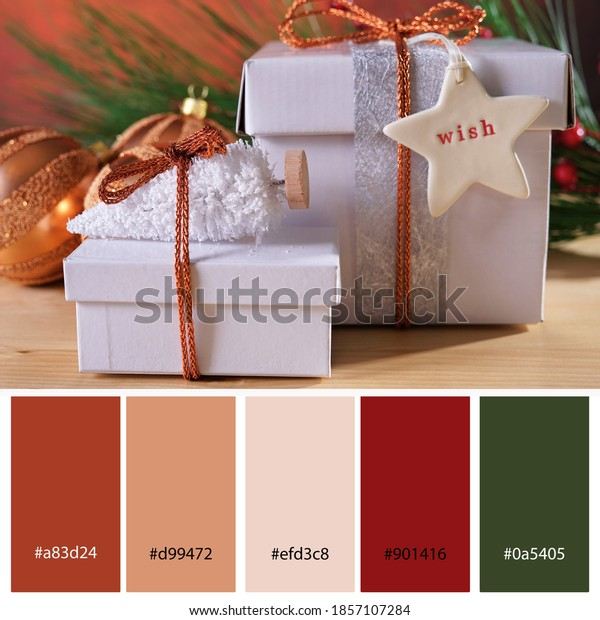 Christmas Copper Metalic and White theme Decor Trend Designer Pack Color Palette. Designer pack with photograph and swatches with hex codes references.
