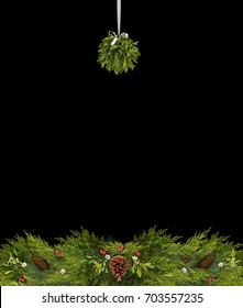 Christmas copy space of mistletoe, holly berries, pine cones, and evergreen branches on a black background