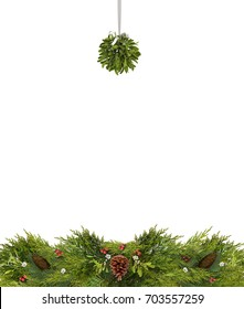 Christmas copy space of mistletoe, holly berries, pine cones, and evergreen branches isolated on white