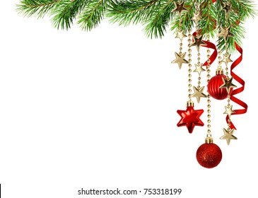 Christmas corner arrangement with green pine twigs hanging red decorations and silk twisted ribbons isolated on white background
