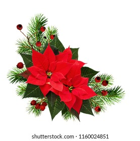 Christmas corner arrangement with pine twigs, red berries and poinsettia flowers isolated on white background. Flat lay. Top view.