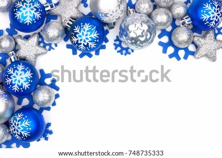 christmas corner border of blue and silver ornaments isolated on a white background - Blue And Silver Christmas