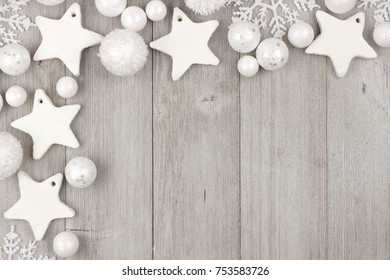 christmas corner border with shabby chic handmade clay ornaments on a rustic gray wood background - Handmade Shabby Chic Christmas Decorations