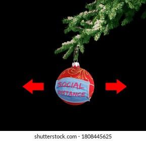 Christmas coronavirus background. Holidays social safety concept