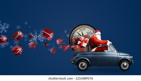 Christmas countdown arriving. Santa Claus on car delivering New Year gifts and clock at blue background