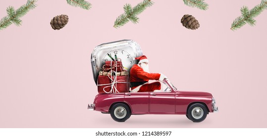 Christmas countdown arriving. Santa Claus on car delivering New Year gifts and clock at pink background