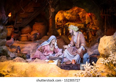 Christmas creche with Joseph and Mary