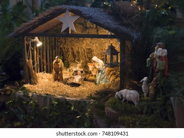 Christmas creche with Joseph Mary and small Jesus
