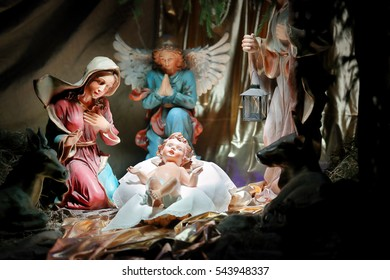 Christmas crib, biblical scene Birth of Jesus Christ in Bethlehem