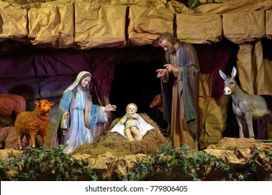 Christmas crib, biblical scene Birth of Jesus Christ in Bethlehem