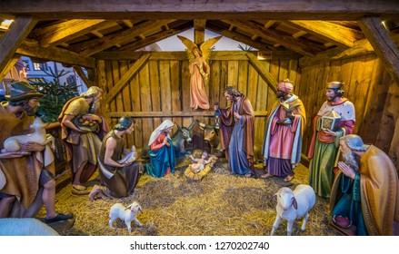 Christmas crib in Bolzano market. Trentino Alto Adige, Italy. December-12-2018