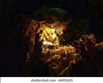 Christmas crib figures representing Holy Family, three wisemen and shepherds