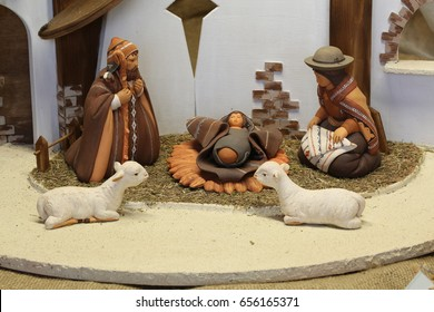 Christmas crib South-American and two white ceramic sheep