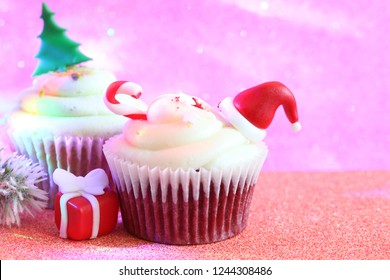 Christmas cupcake abstract ornament baking  concept on defocused  colorful background