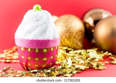 Christmas cupcake with decoration