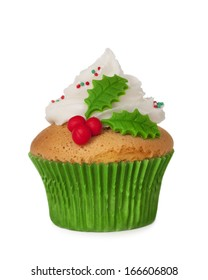 Christmas cupcake isolated on a white background