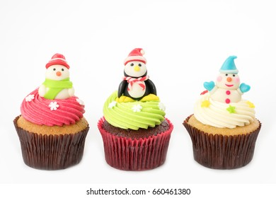 Christmas of cupcake on the white background