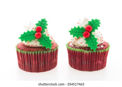 Christmas cupcakes isolated on white background