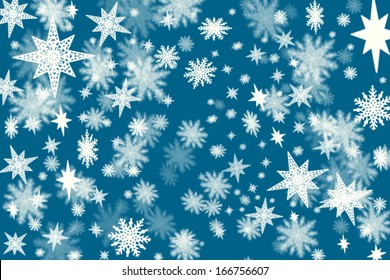 Christmas dark blue background with a lots of snow flakes and stars with blurred