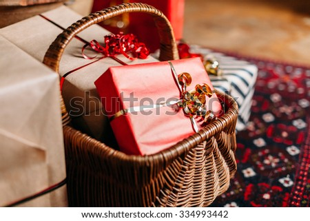 Christmas Day. Christmas gift packages with ribbons of various colors under the Christmas tree & Christmas Day Christmas Gift Packages Ribbons Stock Photo (Edit Now ...