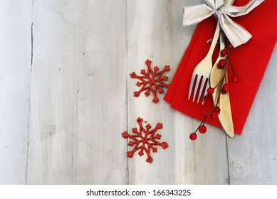 Christmas day greeting card with plate, knife and fork