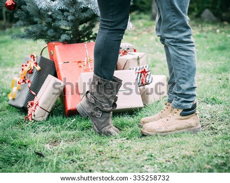Christmas Day Young Loving Couple Kissing Stock Photo (Edit Now ...