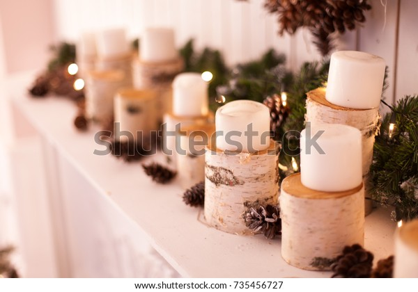 Christmas Decor Fireplace Decorated Birch Sprees Stock Photo Edit