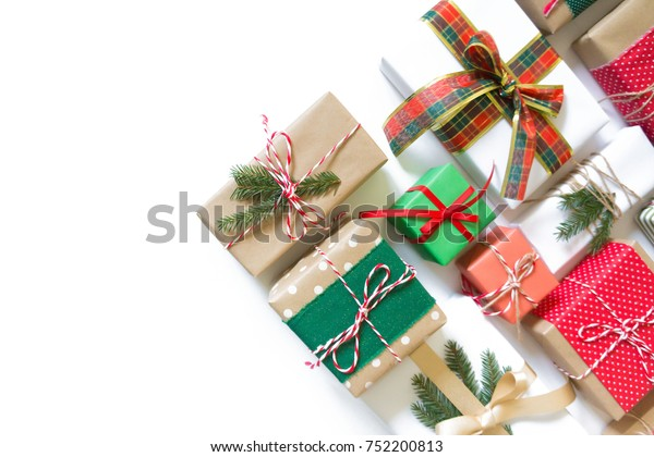 Christmas Decor Gift Boxes Red Green Stock Photo (Edit Now