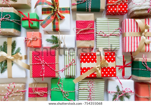 Christmas Decor Gift Boxes Red Green Stock Image