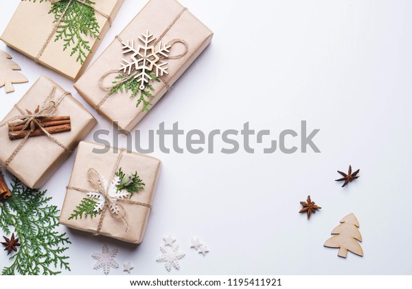 Christmas Decor Gift Boxes Spices On Stock Photo (Edit Now