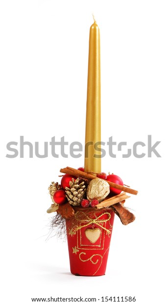 Christmas decor with gold candle