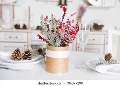 christmas decor kitchen table.  Winter Holidays. Christmas background.