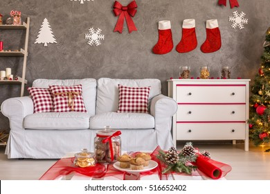 Tasty Cookies On Coffee Table Christmas Stock Photo Edit