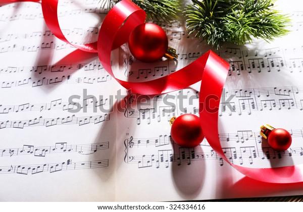 Christmas decor on music notes background