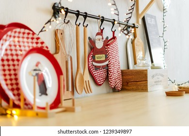 Christmas decor. table with kitchen utensils new year 2019