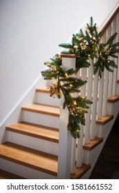 Christmas decor at the wooden stairs indoor