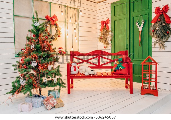 Christmas Decorated Corner Bench Christmas Tree Stock Photo Edit