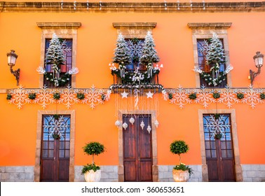 Christmas decorated facade in Garachico old town on Tenerife island