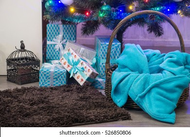 Christmas decorated interior with Christmas Tree, lamps and gifts