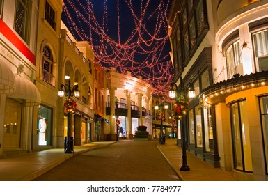 Christmas decorated street in Beverly Hills California at night