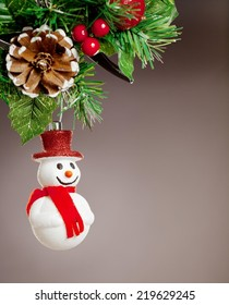 Christmas decoration against white background. Useful as a christmas card.