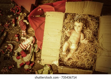 Christmas decoration, Baby Jesus, Santa Claus, Three Wise Men and vintage angels to decorate